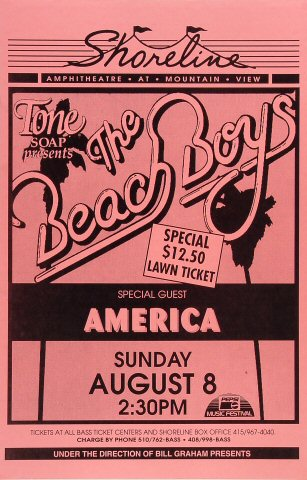 "The Beach Boys Poster from Shoreline Amphitheatre on 08 Aug 93: 11"" x 17"""