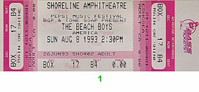 The Beach Boys 1990s Ticket from Shoreline Amphitheatre on 08 Aug 93: Ticket One