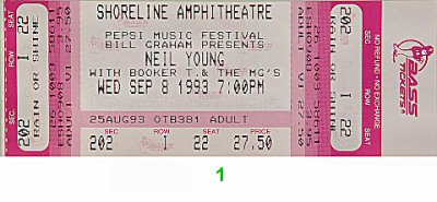 Neil Young 1990s Ticket from Shoreline Amphitheatre on 08 Sep 93: Ticket One