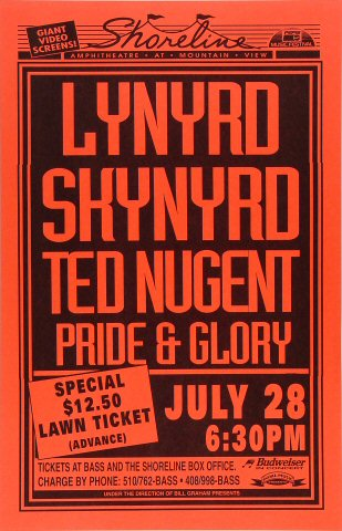 "Lynyrd Skynyrd Poster from Shoreline Amphitheatre on 28 Jul 94: 11"" x 17"""