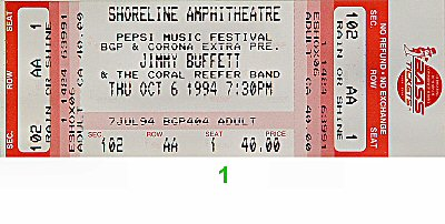 Jimmy Buffett 1990s Ticket from Shoreline Amphitheatre on 06 Oct 94: Ticket One