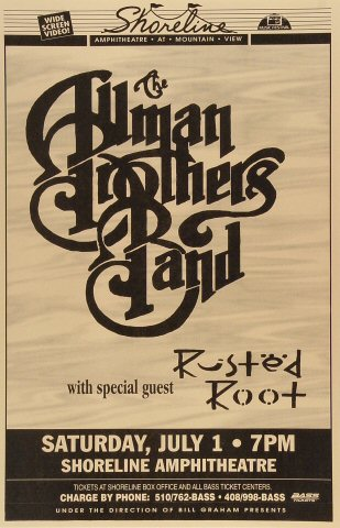 "The Allman Brothers Band Poster from Shoreline Amphitheatre on 01 Jul 95: 11"" x 17"""