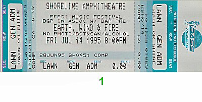 Earth, Wind & Fire 1990s Ticket from Shoreline Amphitheatre on 14 Jul 95: Ticket One