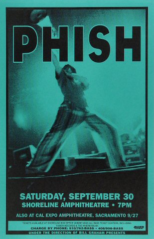 "Phish Poster from Shoreline Amphitheatre on 30 Sep 95: 11"" x 17"""