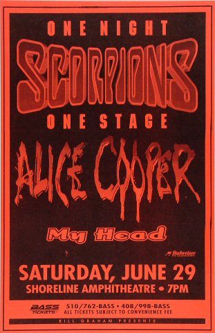"Scorpions Poster from Shoreline Amphitheatre on 29 Jun 96: 11"" x 17"""