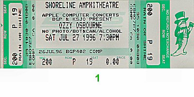 Ozzy Osbourne 1990s Ticket from Shoreline Amphitheatre on 27 Jul 96: Ticket One