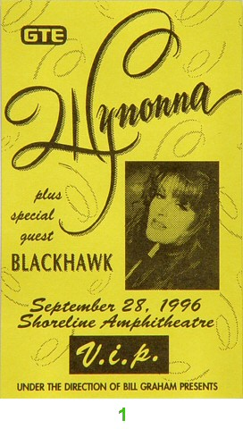 Wynonna Judd Laminate from Shoreline Amphitheatre on 28 Sep 96: Laminate 1