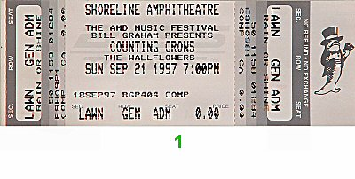 Counting Crows 1990s Ticket from Shoreline Amphitheatre on 21 Sep 97: Ticket One