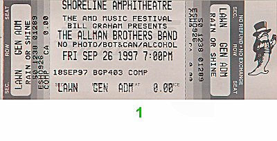 The Allman Brothers Band 1990s Ticket from Shoreline Amphitheatre on 26 Sep 97: Ticket One