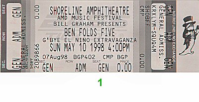 Ben Folds Five 1990s Ticket from Shoreline Amphitheatre on 10 May 98: Ticket One