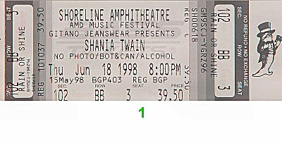 Shania Twain 1990s Ticket from Shoreline Amphitheatre on 18 Jun 98: Ticket One
