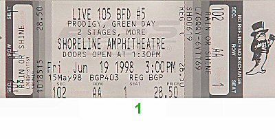 Prodigy 1990s Ticket from Shoreline Amphitheatre on 19 Jun 98: Ticket One