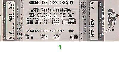 Buckwheat Zydeco 1990s Ticket from Shoreline Amphitheatre on 21 Jun 98: Ticket One