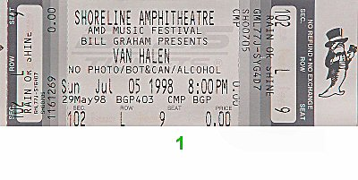 Van Halen 1990s Ticket from Shoreline Amphitheatre on 05 Jul 98: Ticket One