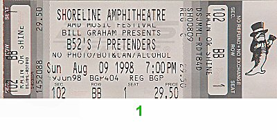 The B-52's 1990s Ticket from Shoreline Amphitheatre on 09 Aug 98: Ticket One