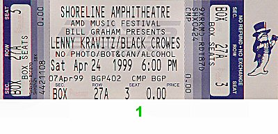 Lenny Kravitz 1990s Ticket from Shoreline Amphitheatre on 24 Apr 99: Ticket One