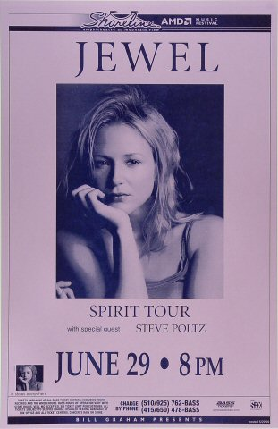 "Jewel Poster from Shoreline Amphitheatre on 29 Jun 99: 11"" x 17"""