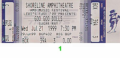 Goo Goo Dolls 1990s Ticket from Shoreline Amphitheatre on 21 Jul 99: Ticket One