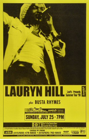 Lauryn Hill Poster from Shoreline Amphitheatre on 25 Jul 99: 11&quot; x 17&quot;