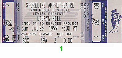 Lauryn Hill 1990s Ticket from Shoreline Amphitheatre on 25 Jul 99: Ticket One