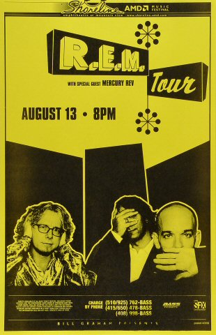 "R.E.M. Poster from Shoreline Amphitheatre on 13 Aug 99: 11"" x 17"""