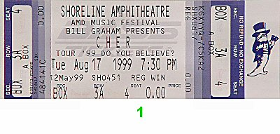 Cher 1990s Ticket from Shoreline Amphitheatre on 17 Aug 99: Ticket One