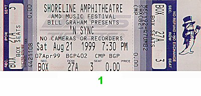 *NSYNC 1990s Ticket from Shoreline Amphitheatre on 21 Aug 99: Ticket One