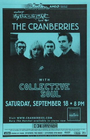 The Cranberries Poster from Shoreline Amphitheatre on 18 Sep 99: 11&quot; x 17&quot;