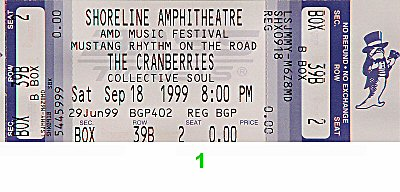 The Cranberries 1990s Ticket from Shoreline Amphitheatre on 18 Sep 99: Ticket One