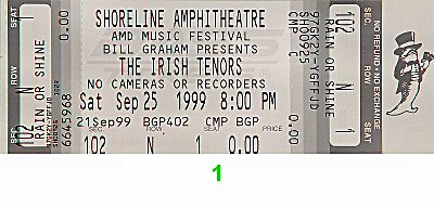 Irish Tenors 1990s Ticket from Shoreline Amphitheatre on 25 Sep 99: Ticket One