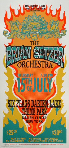 "Brian Setzer Orchestra Poster from Six Flags Theme Park on 15 Jul 99: 10 1/2"" x 22 1/4"""