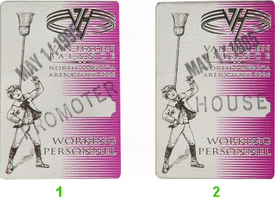 Van Halen Backstage Pass from San Jose Arena on 14 May 95: Pass 1