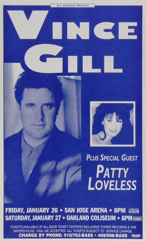 Vince Gill Poster from San Jose Arena on 26 Jan 96: 8 1/2&quot; x 14&quot;