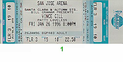 Vince Gill 1990s Ticket from San Jose Arena on 26 Jan 96: Ticket One