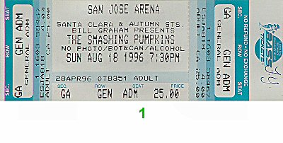 The Smashing Pumpkins 1990s Ticket from San Jose Arena on 18 Aug 96: Ticket One