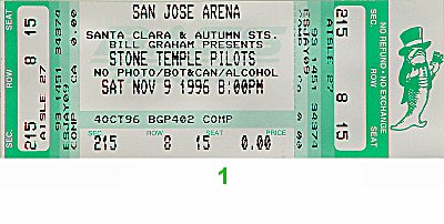Stone Temple Pilots 1990s Ticket from San Jose Arena on 09 Nov 96: Ticket One