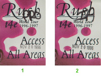 Rush Backstage Pass from San Jose Arena on 20 Nov 96: Pass 2