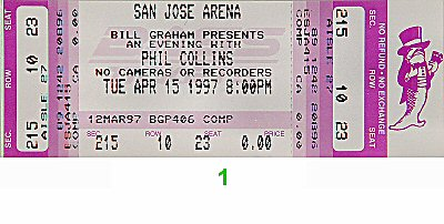 Phil Collins 1990s Ticket from San Jose Arena on 15 Apr 97: Ticket One