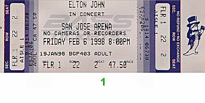 Elton John 1990s Ticket from San Jose Arena on 06 Feb 98: Ticket One