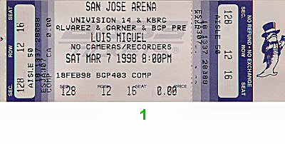 Luis Miguel 1990s Ticket from San Jose Arena on 07 Mar 98: Ticket One