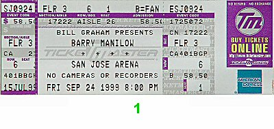 Barry Manilow 1990s Ticket from San Jose Arena on 24 Sep 99: Ticket One