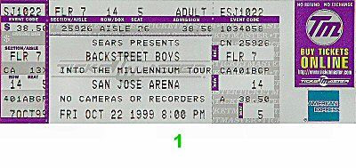 Backstreet Boys 1990s Ticket from San Jose Arena on 22 Oct 99: Ticket One