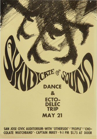 "The Syndicate of Sound Handbill from San Jose Civic Auditorium on 21 May 66: 7 5/8"" x 11"""