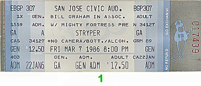 Stryper 1980s Ticket from San Jose Civic Auditorium on 07 Mar 86: Ticket One