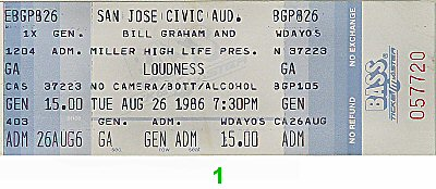 Loudness 1980s Ticket from San Jose Civic Auditorium on 26 Aug 86: Ticket One
