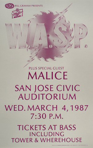 "W.A.S.P. Poster from San Jose Civic Auditorium on 04 Mar 87: 14"" x 22"""