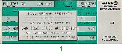 Dio 1990s Ticket from San Jose Civic Auditorium on 20 Sep 90: Ticket One