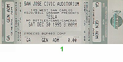 Tesla 1990s Ticket from San Jose Civic Auditorium on 30 Dec 95: Ticket One