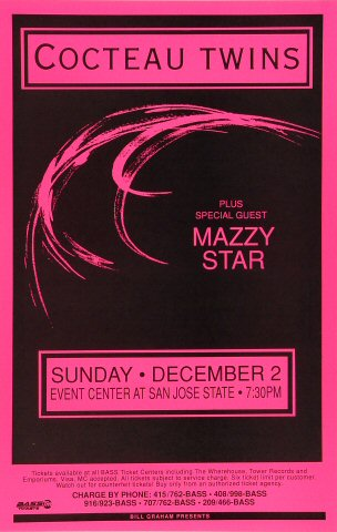 "Cocteau Twins Poster from San Jose State Event Center on 02 Dec 90: 11"" x 17"""