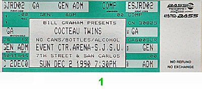 Cocteau Twins 1990s Ticket from San Jose State Event Center on 02 Dec 90: Ticket One